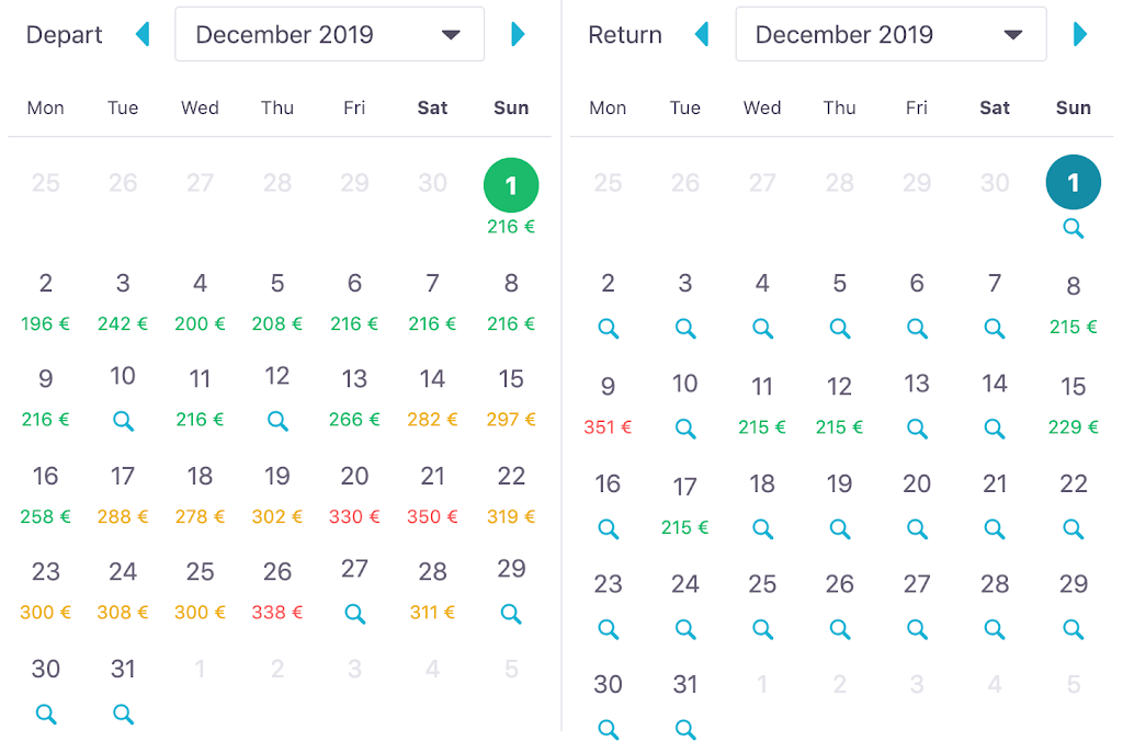 Skyscanner whole month search example