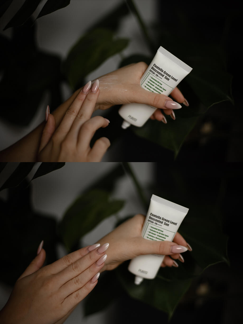 Purito Centella Green Level sunscreen application